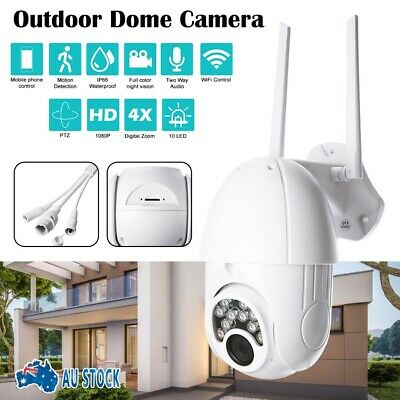 1080P HD WiFi Outdoor Dome Camera Wireless Security Night Vision Zoom AU Stock