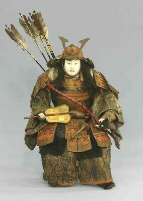 Japanese Antique Armed Samurai Large Doll Yoshitsune Minamoto Edo Era