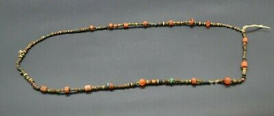 Ancient Egyptian Carnelian, Faience and glass necklace, late period 664-332 BC