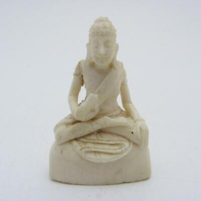 Vintage Miniature Chinese Bovine Bone Carving Of A Bodhisattva