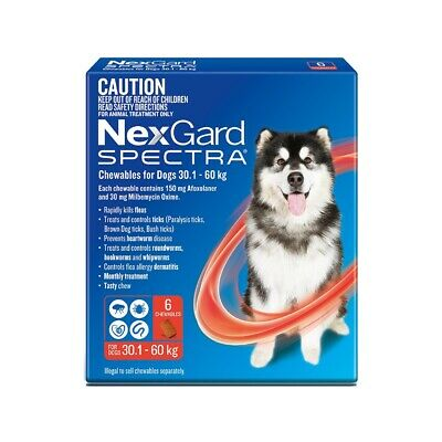NexGard Spectra Red 6 Chewable for Extra Large Dogs  30.1 To 60 Kg
