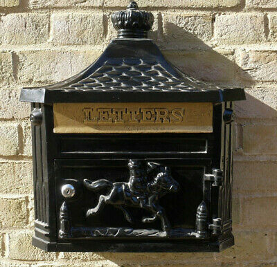 Black Finish Aluminium Wall Mounted Post Box Decorated Letters Mail With 2 Keys