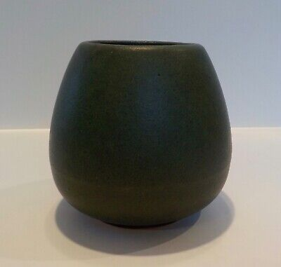 Antique Velvet Matte Green Peters Reed Pottery Vase Arts Crafts Mission RARE
