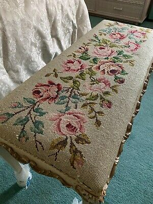 Antique French Needle Point Tapestry Long Stool