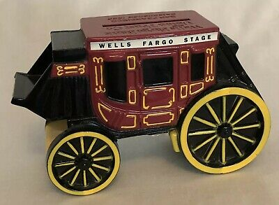 Wells Fargo Stage Coach Cast Iron Piggy Bank 1998 Coin Toy W Key Vtg  A7