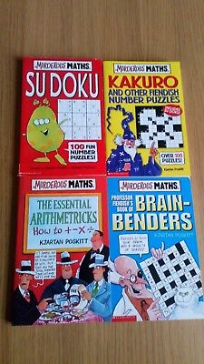 4 x Murderous Maths The Essential Arithmetricks, Sudoku, Brain Benders & Kakuro