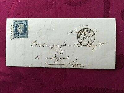 FRENCH: 1857 LETTER FROM MARSEILLE TO LYON WITH 20c.  Emperor Napoléon III