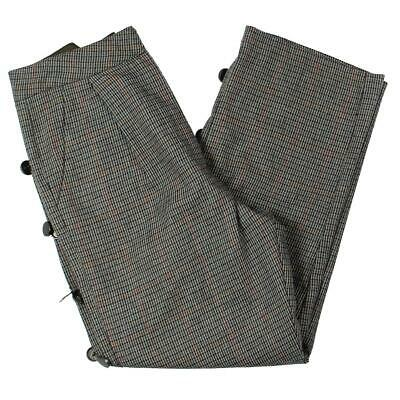 JOA Womens Gray Plaid Embellished Workwear Ankle Pants Trousers M BHFO 6545