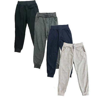 Boys Girls Kids Plain Jogging Sports Tracksuit Bottoms Joggers PE School