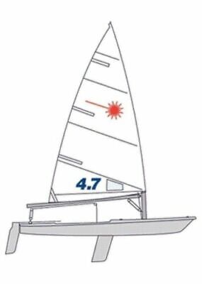 New Practice Laser 4.7 sail w/ class insignias, tell tales & Win