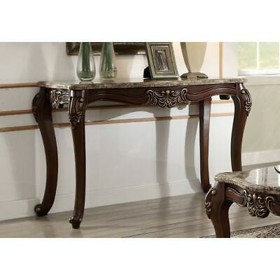 Marble Top Sofa Table With Carved Floral Motifs Wooden Feet, Brown