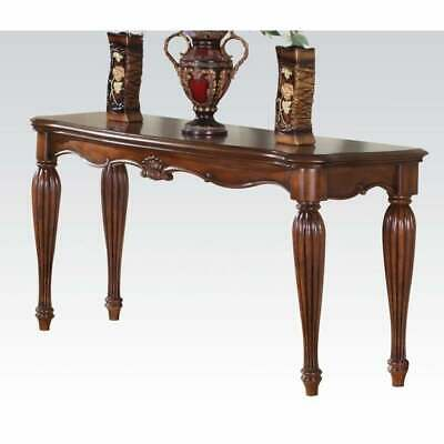 Wooden Sofa Table with Carved Details, Cherry Brown Brown