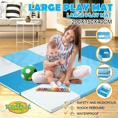 Kidbot New Baby Foam Play Mat Playpen Folding Sofa with Thick Padding Blue