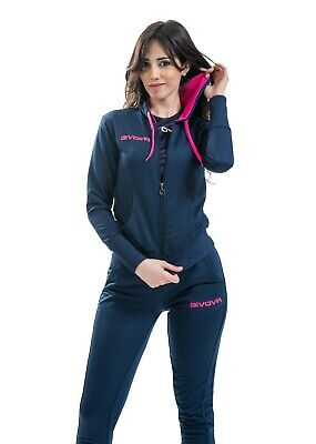 TUTA GIVOVA da DONNA TR028 TRAINING in cotone french terry tracksuit BLU/FUXIA