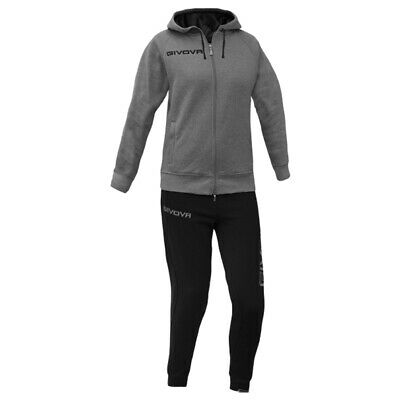 TUTA GIVOVA da DONNA TR028 TRAINING in cotone french terry tracksuit GRIGIO/NERO