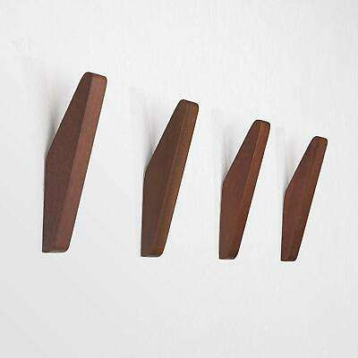 Mid-Century Coat Hooks Modern Teak Wood Wall (Pack of 4) Office Products