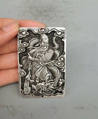 Collection Tibetan silver hand carved Riding dragon guan gong amulet pendant h56