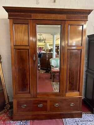 Fantastic Quality Edwardian Inlaid Mahogany Mirror Door Wardrobe