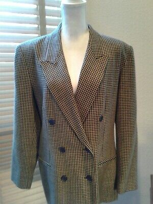 PENDLETON Khaki Black Houndstooth Virgin Wool Blazer Jacket Size 14    P10975
