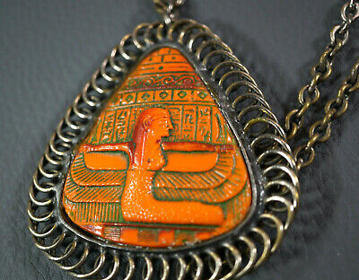 Art Deco Austrian Max Neiger TUT Egyptian Revival Pharaoh Necklace&Cameo Pendant