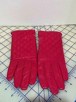 J. Crew Pink Magenta Womens Quilted Leather Gloves L@@K!!!!!