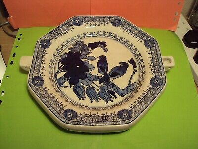 Antique Blue & White Hand Painted Warming Plate Bird Pattern Chinese? Excellent
