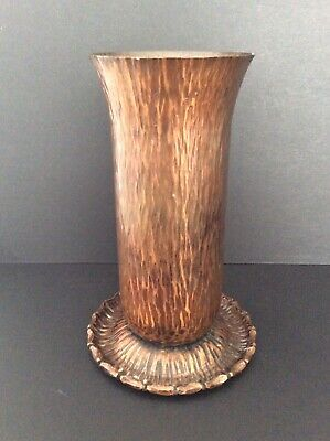 Rare Arts And Crafts Austrian Wiener Werkstatte Hand Hammered Bronze Vase C1900
