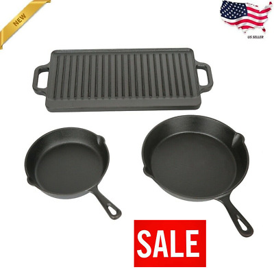 3 Piece Cast Iron Skillet Set w/ Griddle Camping Outdoor Hiking Survival Cooking