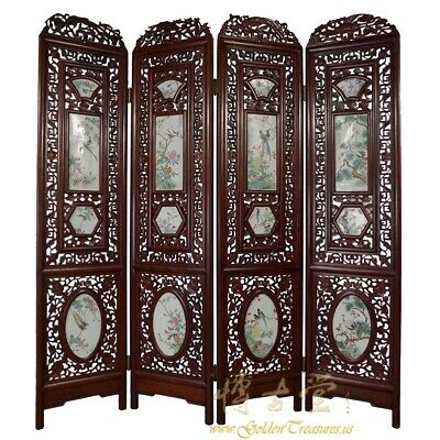 Antique Chinese Rosewood Screen/Room Divider with Painted porcelain panels