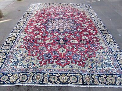 Vintage Hand Made Traditional Rugs Oriental Wool Red Blue Large Carpet 360x263cm