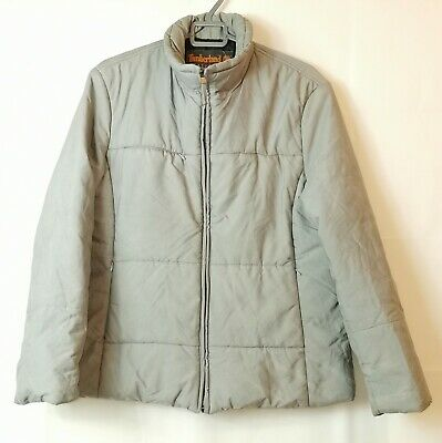 Vintage Timberland Weathergear Men's Beige Quilted Puffa Jacket Size Large