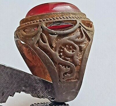 Extremely Rare Ancient Roman Silver Ring *snake* Ring  Superb Rare RED  Stone