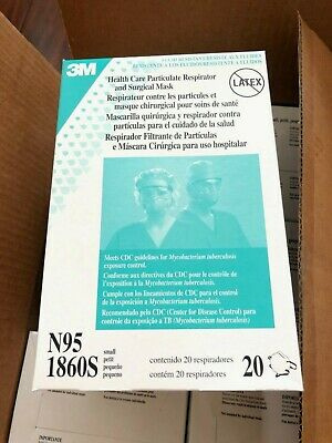 3M 1860S N95 Particulate Respirator Surgical Mask, Box of 20 Filters. Read Below