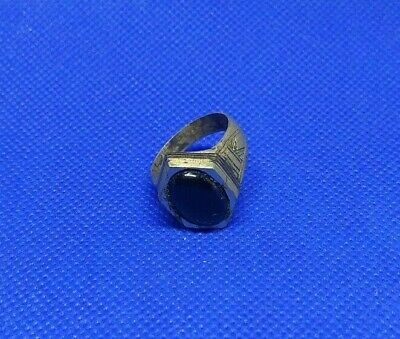 Ring Ancient Roman Medieval Design Silver Old Very Rare Type Black Stone Men