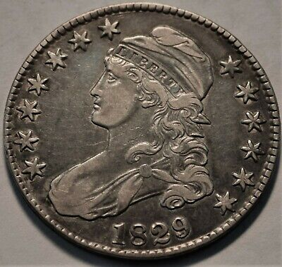 1829 Capped Bust Half Dollar, Better, Higher Grade, Type Coin, Silver 50C