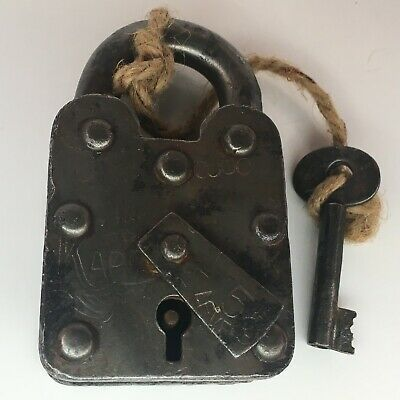 Antique Vintage Large Padlock with one key Working Order 5 Levers Riveted Joints