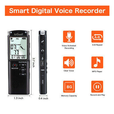 Mini Digital Voice Recorder 8GB Sound Audio Dictaphone Rechargeable MP3 Player