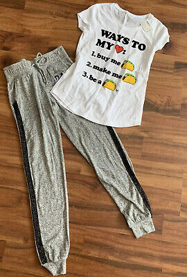 New Justice Girls Size 10 Outfit Soft Grey Joggers & Taco Shirt Top Tee