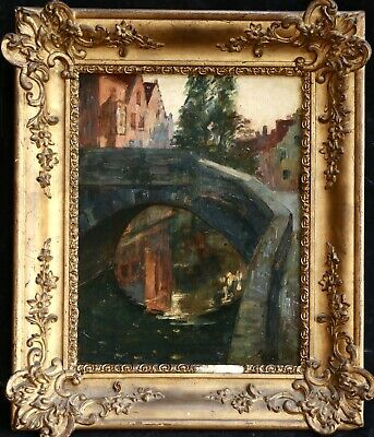 19th CENTURY FRENCH IMPRESSIONIST OIL - SUNSET BRIDGE TOWN - INDISTINCTLY SIGNED
