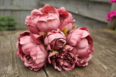 5 x VINTAGE DUSKY MAUVE PINK SILK PEONY FLOWERS & BUDS TIED BUNCH SMALL BOUQUET
