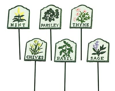 STICKERS Metal Label Gardening Plot Stake Signs 4x QUALITY GARDEN HERB MARKERS