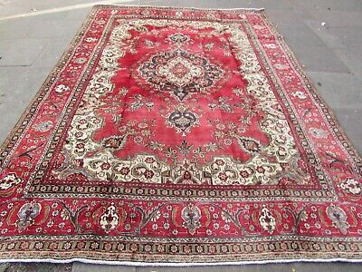 Vintage Hand Made Traditional Rugs Oriental Wool Red Large Carpet 353x250cm