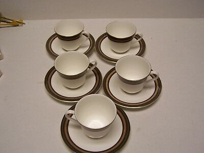 5 Cups & 5 Saucers Royal Doulton Cadenza H5046 1976 English Fine Bone China Nice