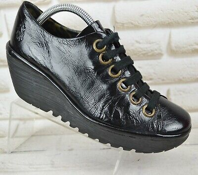 FLY LONDON Womens Black Leather Wedge Lace-Up Shoes Comfort Boot Size 5 UK 38 EU