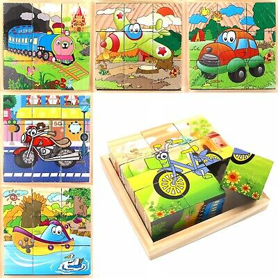 Cube Blocks For Kids Toddlers Educational Toy Puzzle - Vehicle