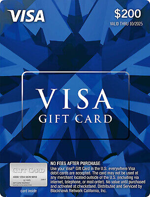 $200 GIFT CARD. FREE SHIPPING! ACTIVATED. Non Reloadable. No Fees After Purchase