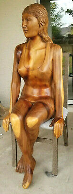 "HUGE Hand Carved Wood Sculpture ""WOMAN SITTING"" Mid-Century Modern Vintage Weird"