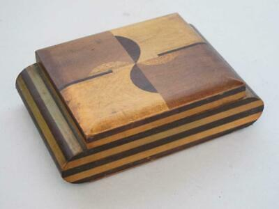 Stunning Vintage Art Deco Inlaid Wood Cigarette Box 1930