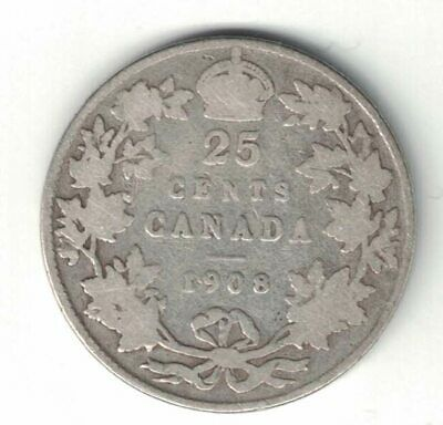 Canada 1908 Twenty Five Cents Quarter King Edward Vii Sterling Silver Coin