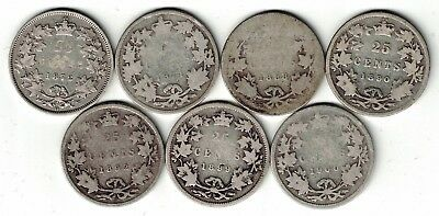 7 X Canada 25 Cent Quarters Queen Victoria Sterling Silver Coin 1872H - 1900